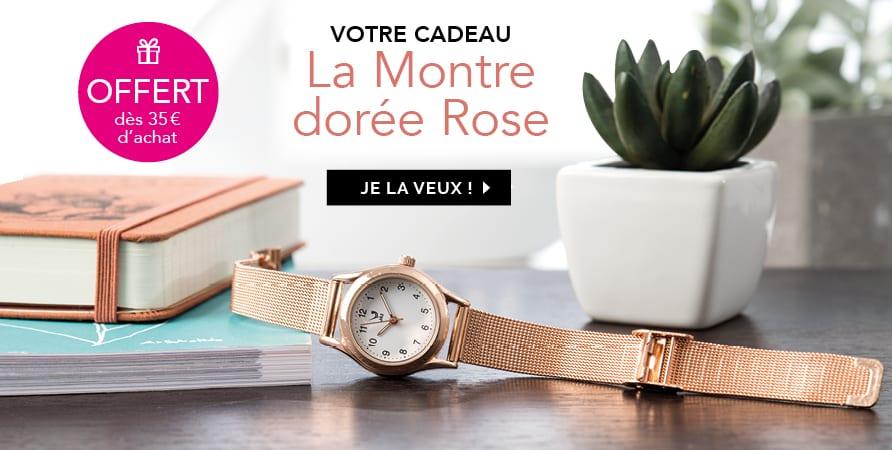 Votre Cadeau : la montre dorée rose